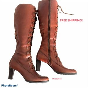 COLE HAAN EUC Tall Lace Up Zip Boots in Cognac 9.5